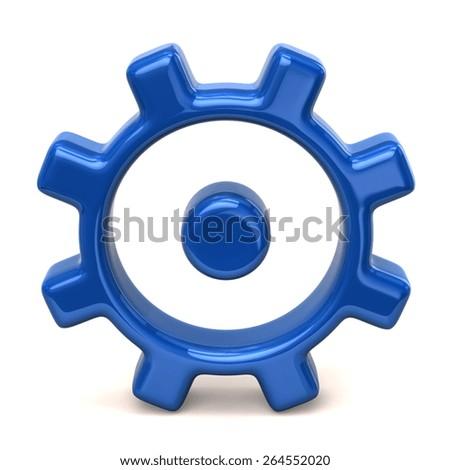 Blue gear icon - stock photo