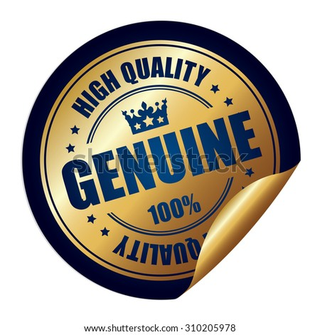 Blue Genuine 100% High Quality Infographics Peeling Sticker, Label, Icon, Sign or Badge Isolated on White Background  - stock photo