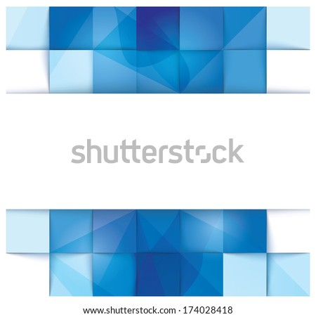 Blue geometrical abstract banner template with a stripe for input in the middle - raster version of vector illustration - stock photo