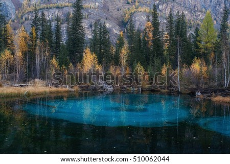 Blue geyser lake in Altay mountains. Blue because of the clay at the bottom.