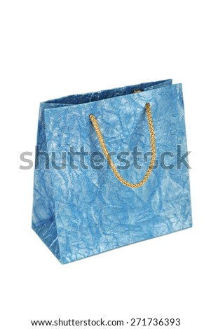 Blue gift bag isolated on white
