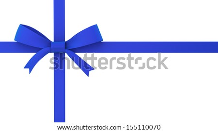 Blue gift bow. 3d illustration on white background