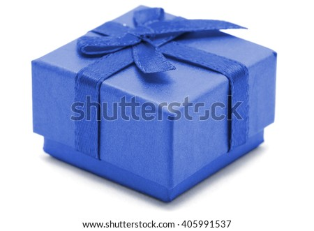 Blue Gift Box on white background