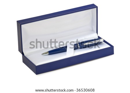 Blue gift box.Pen inside. Isolated on white background with clipping path. - stock photo