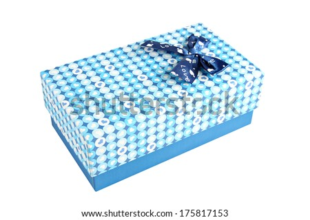 Blue gift box with a lid isolated on white background.