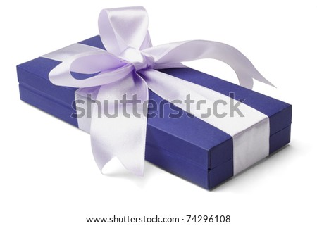 Blue gift box with big bow ribbon on white background - stock photo