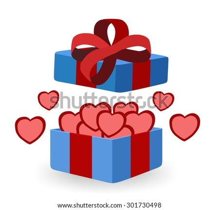 blue gift box with hearts inside - stock photo
