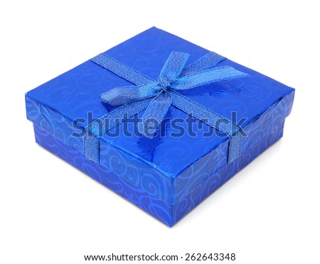 Blue gift box with lid on white background  - stock photo
