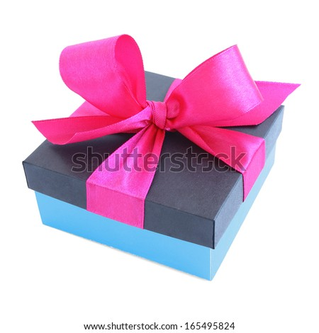 Blue gift box with pink satin ribbon bow isolated on white