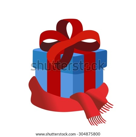 blue gift box with red scarf - stock photo