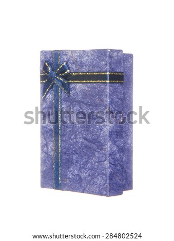 Blue gift box with ribbon and bow isolated on white background