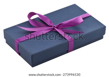 blue gift box with violet ribbon
