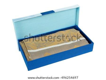 Blue gift box with yellow fabric isolated on white background