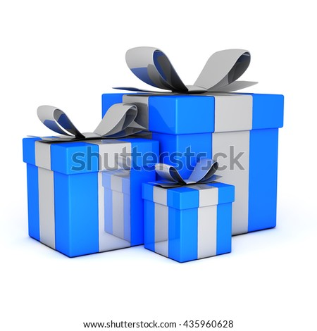 Blue gift boxes 3D render - stock photo