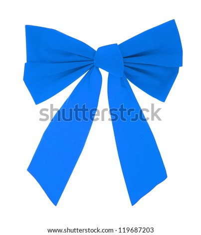 blue gift satin ribbon bow isolated on white background