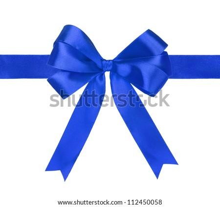 blue gift satin ribbon bows on white background - stock photo