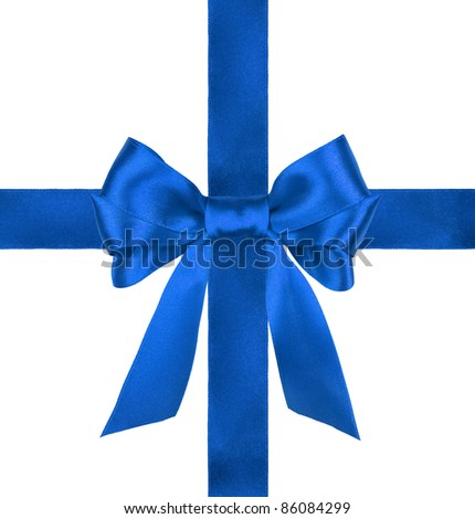 blue gift satin ribbon bows on white background - stock photo
