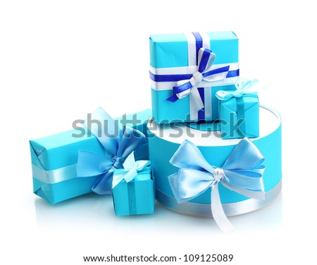 blue gifts with bows isolated on white