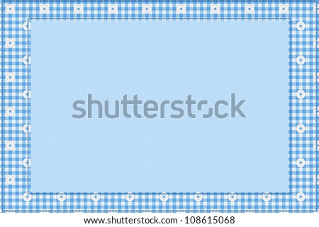 Blue gingham material for a border with copy-space,  Baby Blue Background for your message