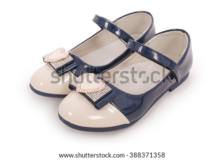 Blue girl shoes white background with soft shadow. Clipping path