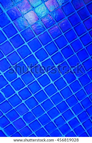 Blue glass and mosaic tiles - stock photo