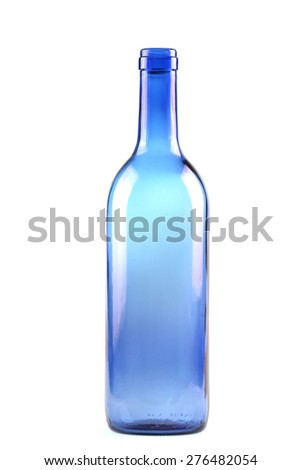 blue glass bottle isolated on the white background - stock photo