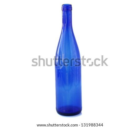 blue glass bottle isolated on white background - stock photo