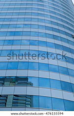 blue glass building background