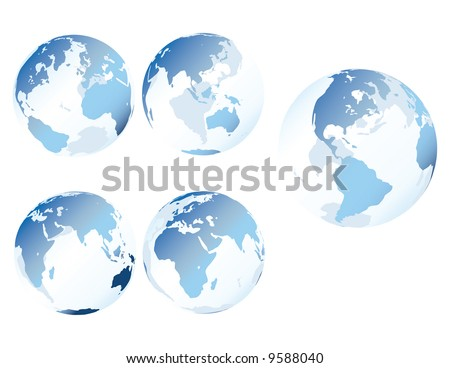 Blue glass earth - Multiple views of see-through, glass-like earth