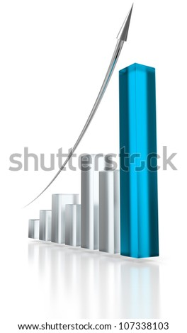 Blue glass graph and silver up arrow.