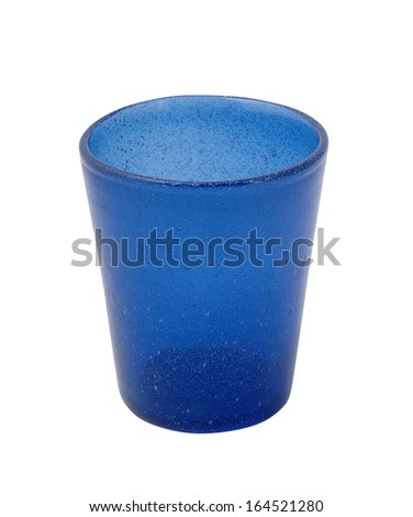 Blue glass isolated on a white background - stock photo