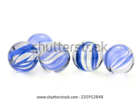 Blue glass marbles isolated on white background  - stock photo