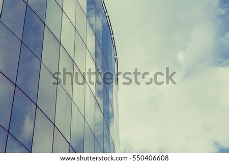 Blue glass of windows building background