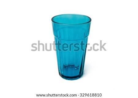 Blue glass on white background.