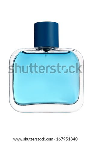 Blue glass perfume bottle isolated on white.