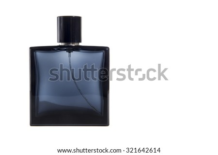 Blue Glass Perfume Bottle Isolated On White With Copy Space - stock photo