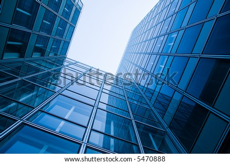 blue glass skyscraper