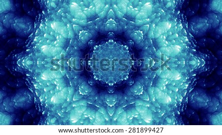 Blue Glassy Abstract Kaleida Style Background Illustration
