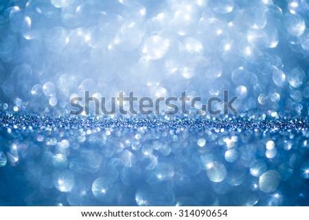 Blue glitter bokeh shiny blur background. Blue bokeh background - stock photo