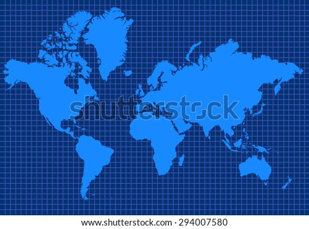 Blue global map with blue grid lines - stock photo
