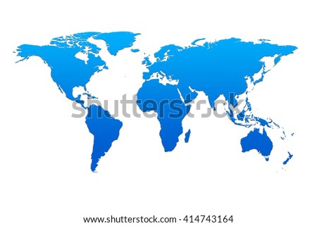 Blue global map, World map blank, World map template, world map flat  illustration isolated on white background