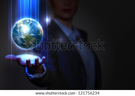 Blue global technology background with the planet Earth. Elements of this image furnished by NASA. - stock photo