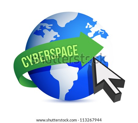 Blue globe and cursor cyberspace concept illustration design