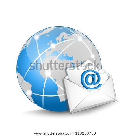 blue globe and e-mail on a white background - stock photo