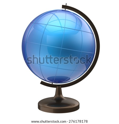 Blue globe blank planet Earth international global geography school studying world cartography symbol icon. 3d render isolated on white background