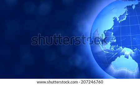 Blue Globe on the right, breaking news style.West Asia and Oceania. - stock photo