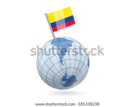Blue globe with flag of colombia isolated on white - stock photo
