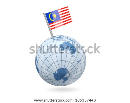 Blue globe with flag of malaysia isolated on white
