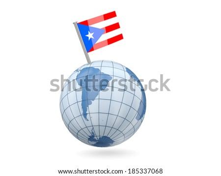 Blue globe with flag of puerto rico isolated on white