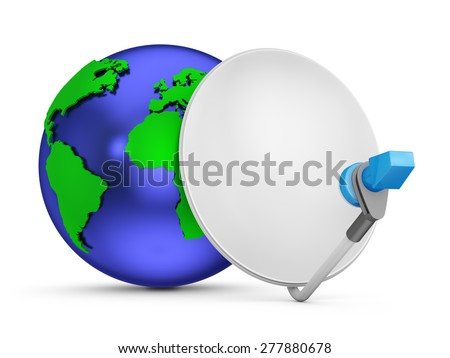 Blue globe with green continents with lots of satellite dishes. - stock photo